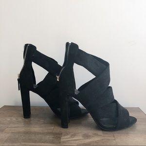 zara • black suede open-toe heels
